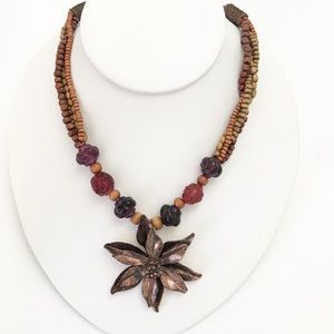 Cookie Lee Necklace Artsy Flower & Wood Beads
